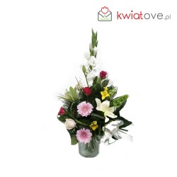 Bukiet z gladioli, r lilie